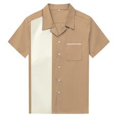 New European and American large size men's short sleeve lapel button shirt cotton loose shirt amazon long-term stock #94956