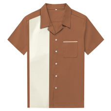 New European and American large size men's short sleeve lapel button shirt cotton loose shirt amazon long-term stock #94957
