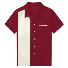 New European and American large size men's short sleeve lapel button shirt cotton loose shirt amazon long-term stock #94958