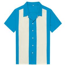 New contrasting color patchwork men's shirts retro street punk hip-hop #94950