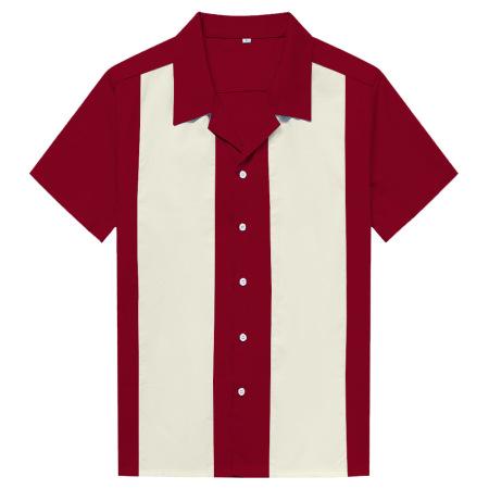 New contrasting color patchwork men's shirts retro street punk hip-hop #94951