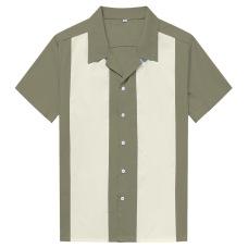 New contrasting color patchwork men's shirts retro street punk hip-hop #94952