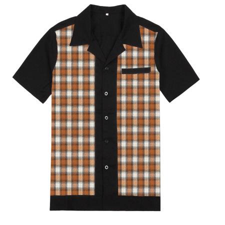 New ins plaid lapel loose short-sleeve joker shirt 100% cotton British plaid hot style shirt #94953