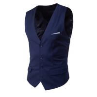 Trendy  V Neck Button Design Navy Blue Cotton Blends Vest