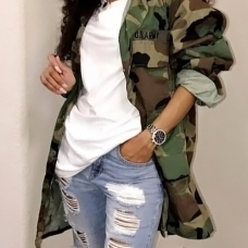 Casual Turndown Collar Single Breasted Camo Cotton Blends Coat(Without Belt)