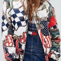 England Mandarin Collar Coloured Flags Printed Cotton Zipped Jacket(Non Positioning Printing)