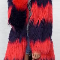Euramerican Long Sleeves Patchwork Red Faux Fur Long Coat