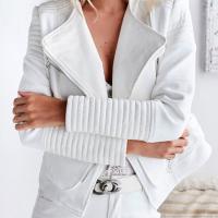 Euramerican Turndown Colla Zipper Design White Polyester Jacket