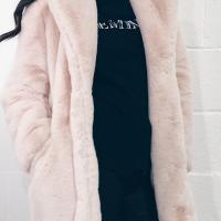 Euramerican Turndown Collar Pocket Design Pink Faux Fur Regular Coat