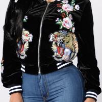 Fashionable Round Neck Embroidered Design Black Velvet Coat