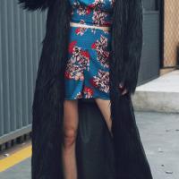 Fashionable V Neck Long Sleeves Black Faux Fur Long Coat