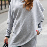 Leisure Hooded Long Sleeves Asymmetrical Light Grey Polyester Long Coat