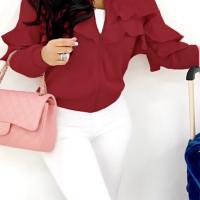 Leisure Round Neck Falbala Design Wine Red Velvet Zipped Coat