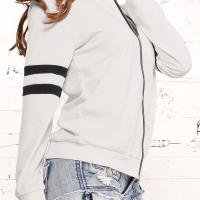 Leisure Round Neck Zipper Design White Cotton Coat