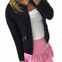 Polyester O neck Long Sleeve zipper Regular Coat&Jacket