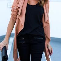 Trendy Turndown Collar Asymmetrical Pink Blending Coat