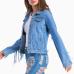 Trendy Turndown Collar Tassel Design Light Blue Denim Coat