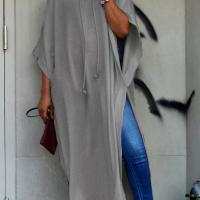 Trendy Turtleneck Half Sleeves Grey Cotton Blends Long Coat