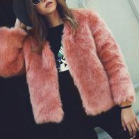 Trendy V Neck Long Sleeves Fur Design Pink Short Coat