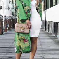 Euramerican Turndown Collar Long Sleeves Floral Print Yellow-green Coat