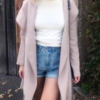 Euramerican Turndown Collar Long Sleeves Lace-up Pink Cotton Long Coat