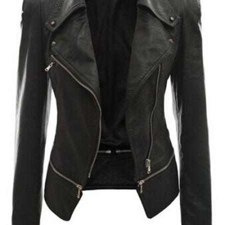 Fashion Turndown Collar Long Sleeves Zipper Design Black PU Jacket