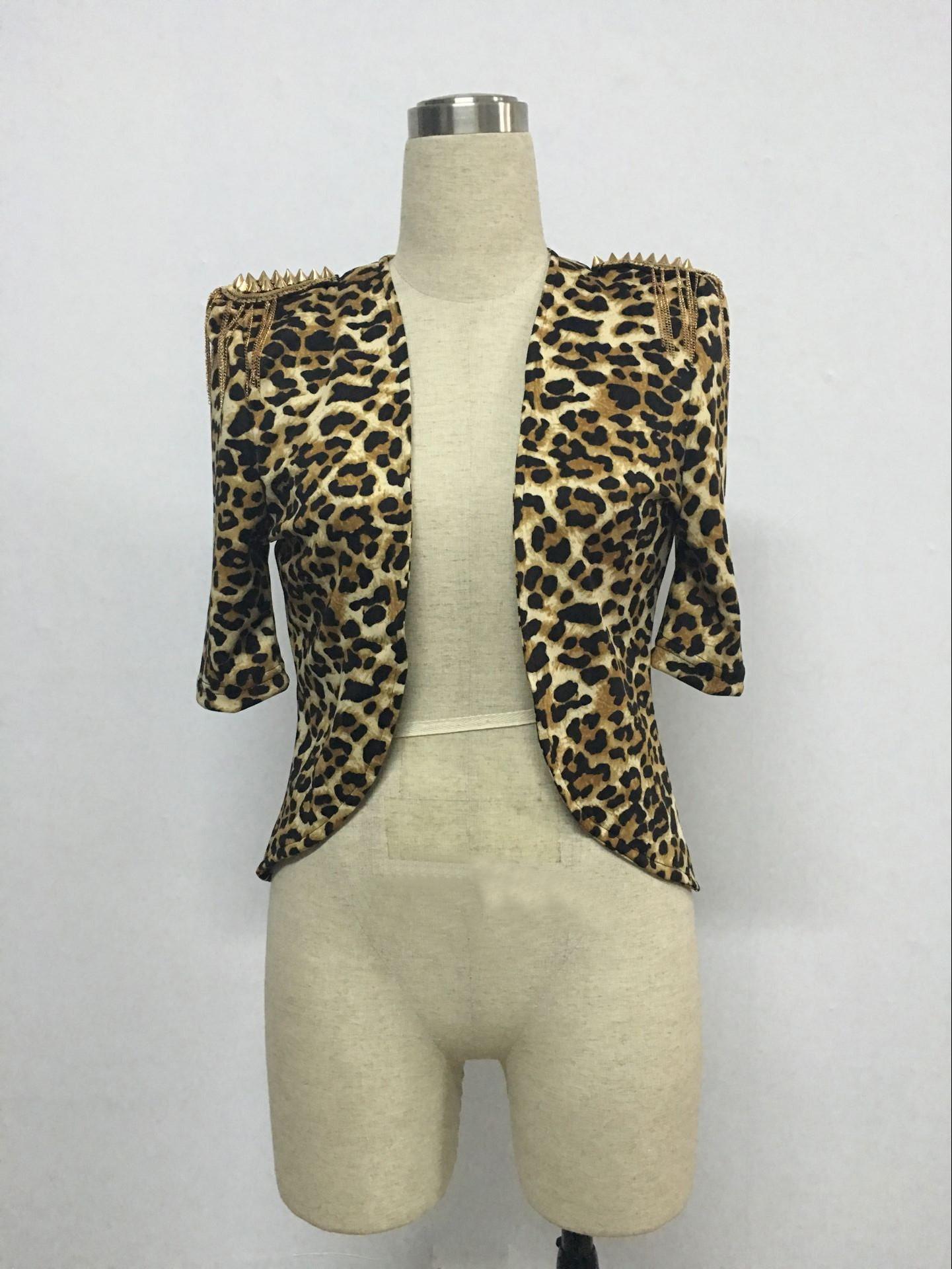 Stylish Half Sleeves Epaulet Stud Embellished Leopard Polyester Jacket