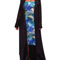 Stylish Turndown Collar Long Sleeves Black Chiffon Long Coat