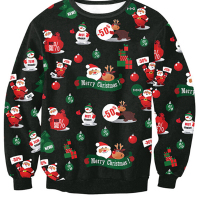 Euramerican Round Neck Christmas Printed Black Polyester Hoodies(Non Positioning Printing)