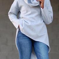 Leisure High collar Long Sleeves Grey Long Hoodies