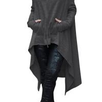 Leisure Long Sleeves Asymmetrical Dark Grey Cotton Hoodies