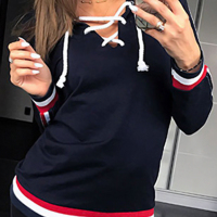 Leisure V Neck Patchwork Blue Polyester Hoodies