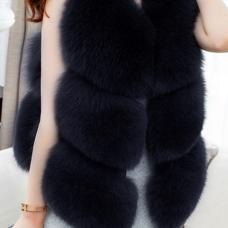 Euramerican V Neck Fur Design Black Waistcoats