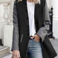 Stylish Turndown Collar Patchwork Black+Grey Polyester Coat