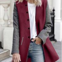 Stylish Turndown Collar Patchwork Wine+Grey Polyester Coat