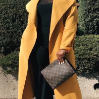 Trendy Turndown Collar Long Sleeves Yellow Cotton Long Wool Coat