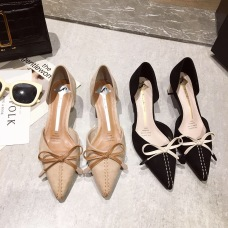 2019 New fashion versatile pointy shoes women's bow shoes #95019