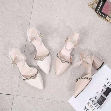 Fashionable new style of women's casual shoes with pointed toes and elegant medium heel sandals #95020