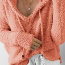 Euramerican Hooded Collar Long Sleeves Pink Cotton Shirts