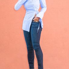 Euramerican Turndown Collar Long Sleeves Striped Blue Polyester Shirts