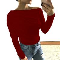 Leisure Dew Shoulder Wine Red Cotton Shirts