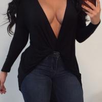 Sexy Deep V Neck Asymmetrical Black Cotton Blouses