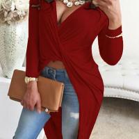 Sexy V Neck Asymmetrical Wine Red Blending Shirts