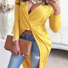 Sexy V Neck Asymmetrical Yellow Blending Shirts