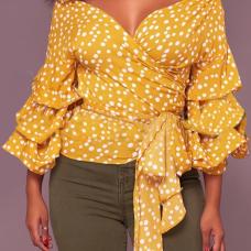 Sexy V Neck Polka Dot Design Yellow Cotton Shirts