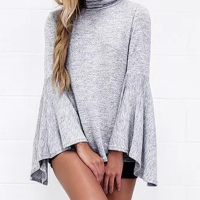 Leisure Turtleneck Long Sleeves Asymmetrical Grey Cotton Shirts