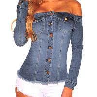 Stylish Dew Shoulder Long Sleeves Single-breasted Light Blue Denim Shirts