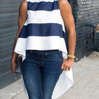 Stylish Round Neck Striped Tilled Satin Shirts