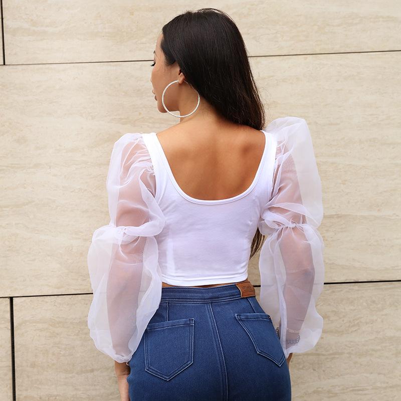 Long-sleeved vest top - selling new U collar crop revealing elastic sleeve top #95112