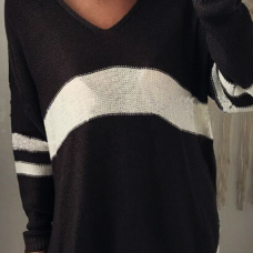 Euramerican V Neck Long Sleeves Patchwork Black Wool Sweaters